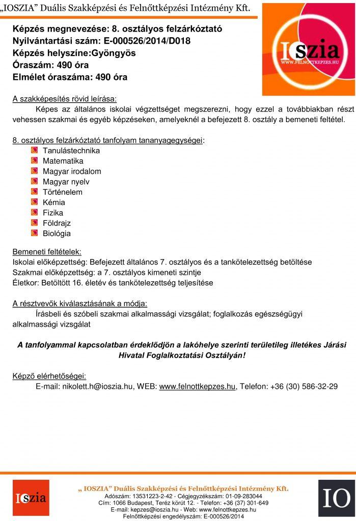 8. osztályos felzárkóztató - Gyöngyös - felnottkepzes.hu - Felnőttképzés - IOSZIA