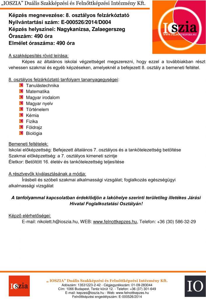 8. osztályos felzárkóztató - Nagykanizsa - Zalaegerszeg - felnottkepzes.hu - Felnőttképzés - IOSZIA
