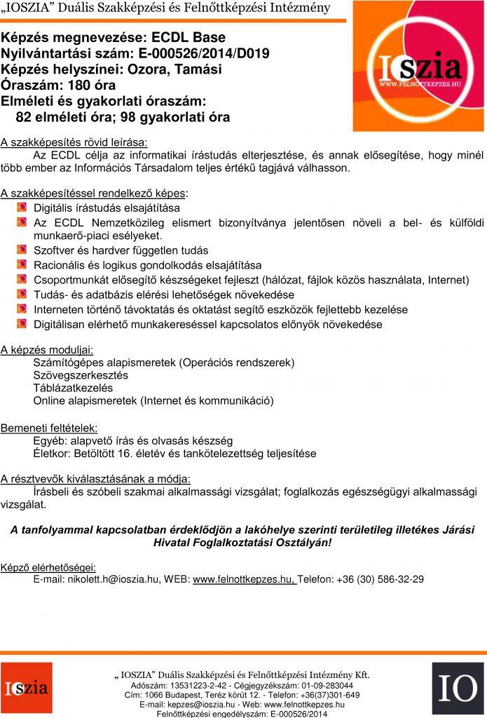ECDL BASE - Ozora - Tamási - felnottkepzes.hu - Felnőttképzés - IOSZIA