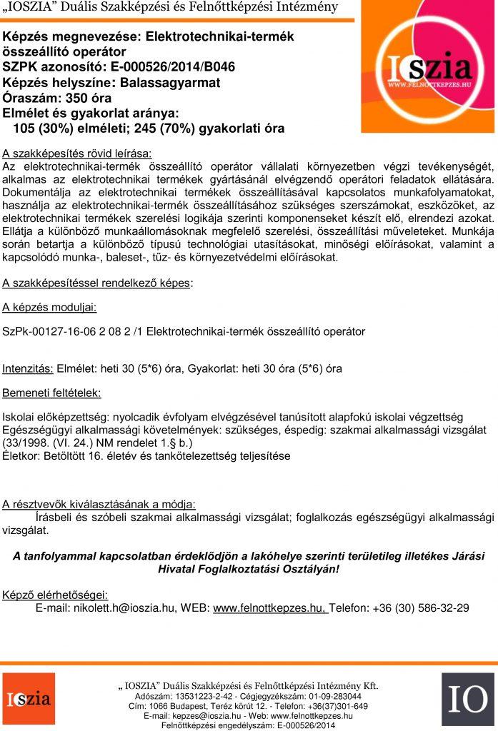 Elektrotechnikai-termék összeállító operátor - Balassagyarmat - IOSZIA felnőttképzés felnottkepzes.hu