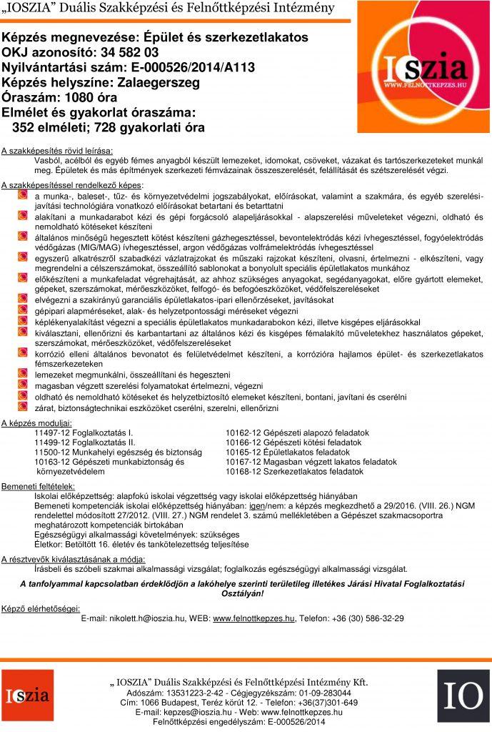 Épület- és szerkezetlakatos OKJ - Zalaegerszeg - felnottkepzes.hu - Felnőttképzés - IOSZIA