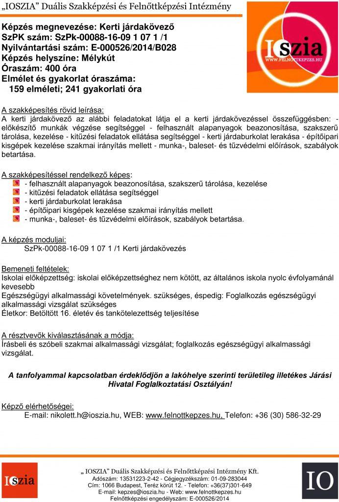 Kerti járdakövező - Mélykút - felnottkepzes.hu - Felnőttképzés - IOSZIA