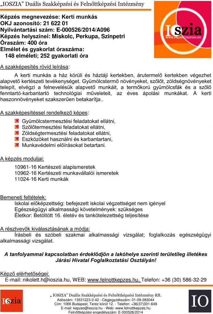 Kerti munkás OKJ - Miskolc - Perkupa - Szimpetri - felnottkepzes.hu - Felnőttképzés - IOSZIA