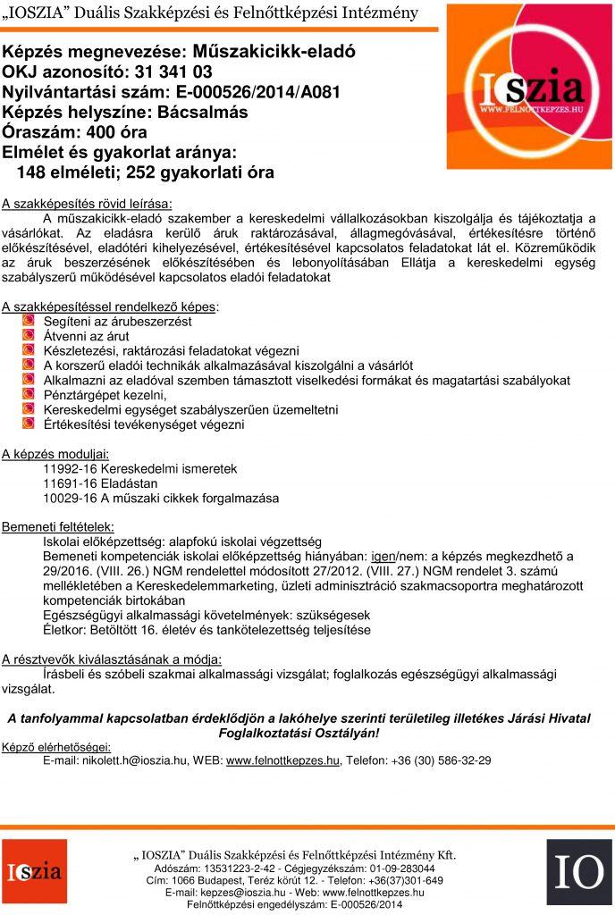 Műszakicikk-eladó OKJ - Bácsalmás - felnottkepzes.hu - Felnőttképzés - IOSZIA