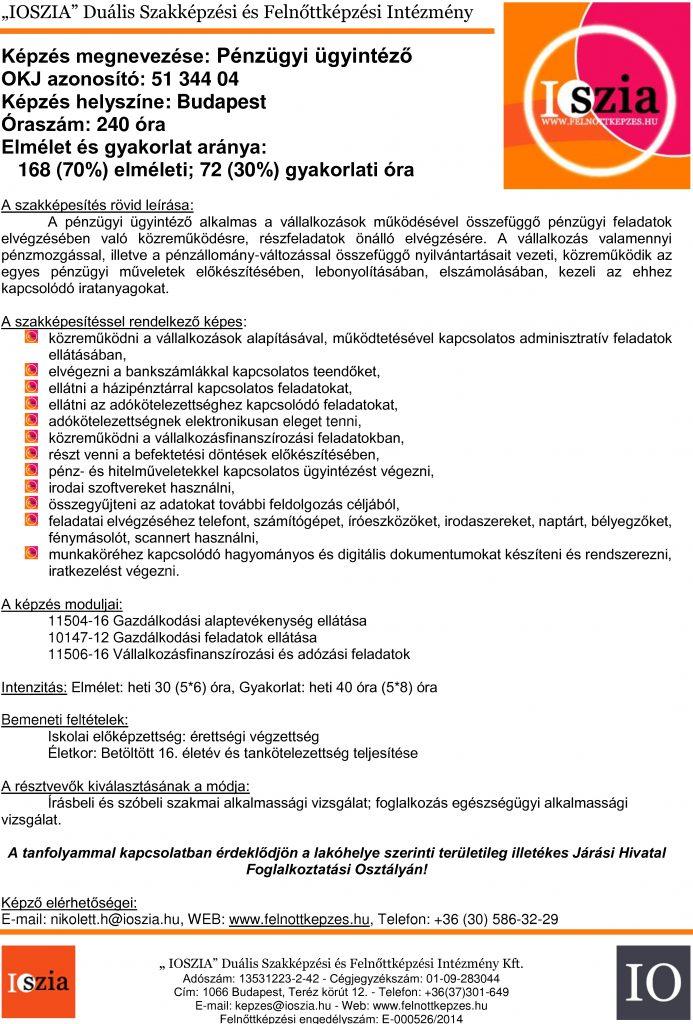 Pénzügyi-ügyintéző - budapest IOSZIA felnőttképzés
