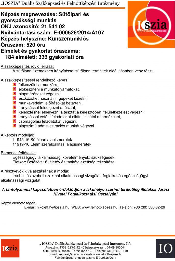 Sütőipari és gyorspékségi munkás OKJ - Kunszentmiklós - felnottkepzes.hu - Felnőttképzés - IOSZIA