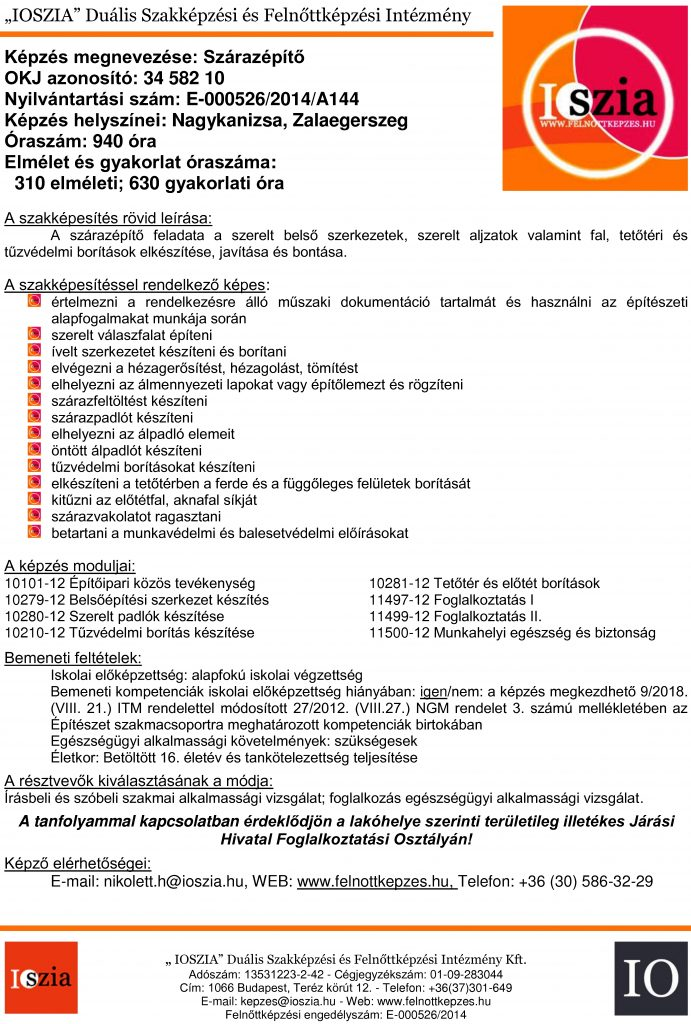 Szárazépítő OKJ - Nagykanizsa - Zalaegerszeg - felnottkepzes.hu - Felnőttképzés - IOSZIA