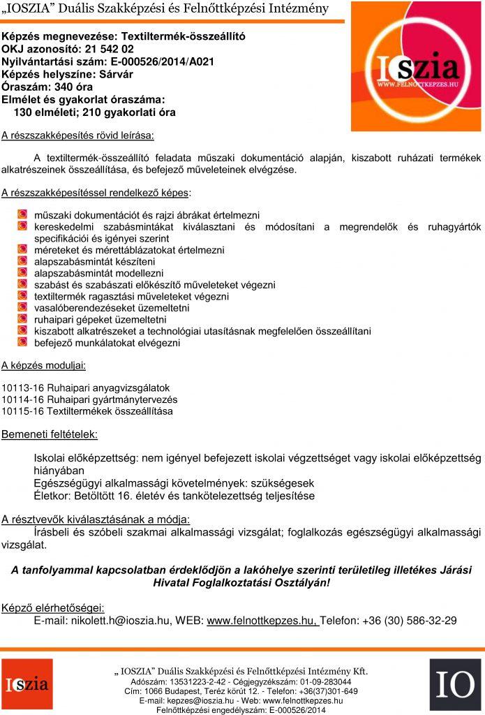 Textiltermék-összeállító OKJ - Sárvár - Felnőttképzés -felnottkepzes.hu - IOSZIA